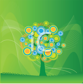 Royalty Free Clipart Image of an Abstract Tree of Circles on Green