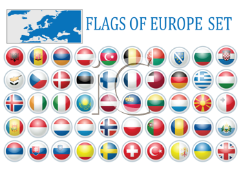 Royalty Free Clipart Image of a Flags of Europe Set