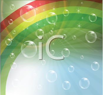 Royalty Free Clipart Image of a Rainbow and Bubble Background