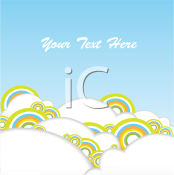 Royalty Free Clipart Image of a Sky and Clouds With Circles