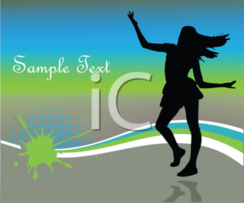 Royalty Free Clipart Image of a Dancing Girl Silhouette on a Blue, Green and Grey Background