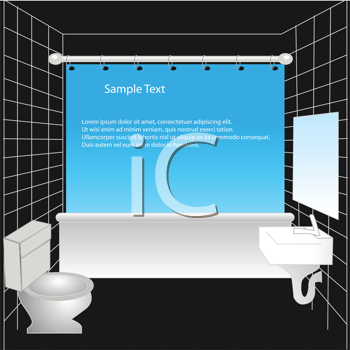 Royalty Free Clipart Image of a Bathroom With a Blue Shower Curtain