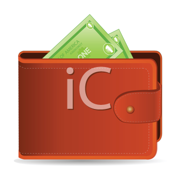 Royalty Free Clipart Image of a Wallet Full of Money
