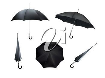 Complete set of black umbrellas, isolated on white background