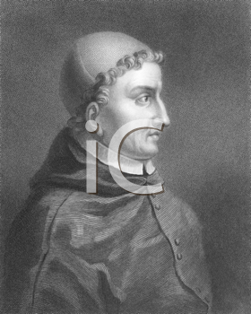 Royalty Free Photo of Francisco Jimenez de Cisneros (1436-1517) on engraving from the 1800s. Spanish cardinal and statesman