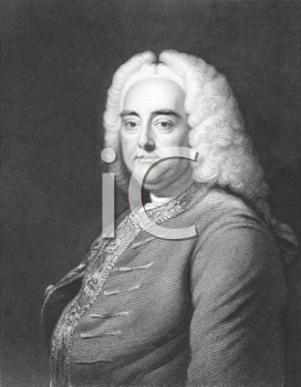Royalty Free Photo of George Frederic Handel (1685-1759) on engraving from the 1800s. German Baroque composer best known for his operas, oratorios and concertos