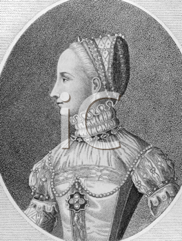 Royalty Free Photo of Mary I of Scotland (1542-1587) on engraving from the 1700s. Queen of Scotland during