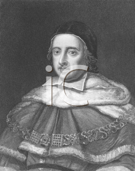 Royalty Free Photo of Matthew Hale (1609-1676) on engraving from the 1800s. Lord Chief Justice of England. Engraved by J.W.Cook and published in London by Charles Knight, Ludgate Street & Pall Mall Ea