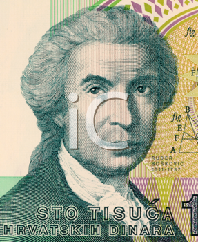 Royalty Free Photo of Roger Joseph Boscovich on 100 Dinar 1991 Banknote from Croatia. Physicist, mathematician, astronomer, philosopher, diplomat, poet, and Jesuit from Ragusa. Famous for his atomic t