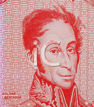 Royalty Free Photo of Simon Bolivar on 5 bolivares 1989 banknote from Venezuela. One of the most important leaders of Spanish America's successful struggle for independence.