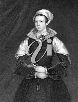 Lady Jane Grey (1536/1537-1554) on engraving from 1838. Also known as The Nine Days Queen, she was an English noblewoman who occupied the English throne during 10 July-19 July of 1553 and was executed