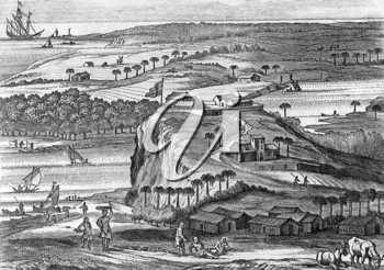The fortress of Kalutara in Sri Lanka on engraving from 1672. Engraved by Baldaeus and published in his book Description of the Isle of Ceylon.