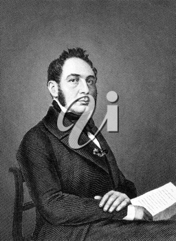 Eduard von Simson (1810-1899) on engraving from 1859. German jurist and politician. Engraved by Kuhner and published in Meyers Konversations-Lexikon, Germany,1859.