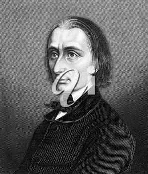 Franz Liszt (1811-1886) on engraving from 1859. Hungarian composer, pianist, conductor and teacher. Engraved by unknown artist and published in Meyers Konversations-Lexikon, Germany,1859.