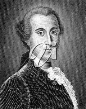 Johann Georg Ritter von Zimmermann (1728-1795) on engraving from 1859. Swiss philosophical writer, naturalist and physician. Engraved by unknown artist and published in Meyers Konversations-Lexikon, G