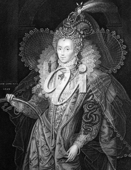 Elizabeth I of England (1533-1603) on engraving from 1829. Queen of England and Queen of Ireland during 1558-1603. Engraved by W.T.Fry and published in ''Portraits of Illustrious Personages of Great B