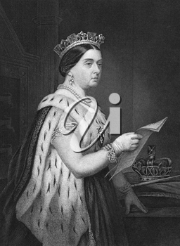 Queen Victoria (1819-1901) on engraving from 1873. Queen of Great Britain and Ireland during 1837-1901. Engraved by unknown artist and published in ''Portrait Gallery of Eminent Men and Women with Bio