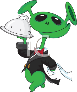 Royalty Free Clipart Image of an Alien With a Tray
