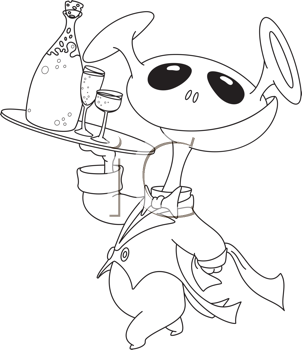 Royalty Free Clipart Image of an Alien With a Tray Carrying Champagne