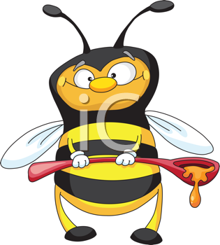 Royalty Free Clipart Image of a Bee With A Ladle of Honey