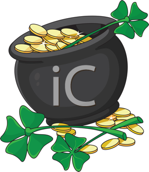 illustration of a pot and clover