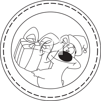 illustration of a bear and gift banner outlined