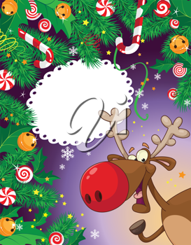illustration of a Christmas candy card and deer