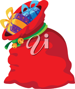 illustration of a Christmas red bag
