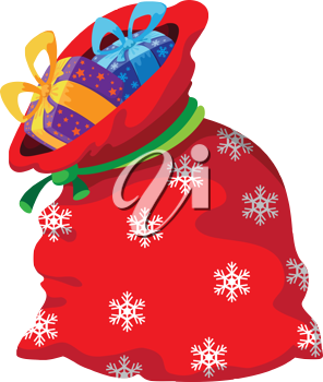 illustration of a Christmas red bag with gifts