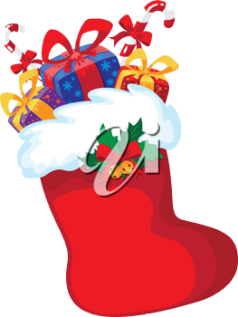 illustration of a Christmas stocking with gifts