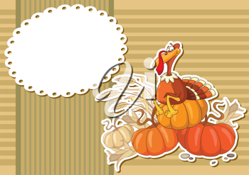 illustration of a turkey sticker background