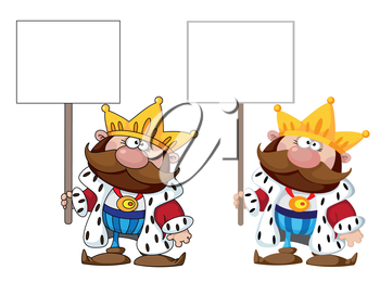 illustration of a king with blank sign