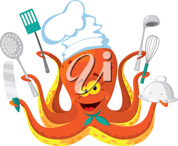 illustration of a octopus cook