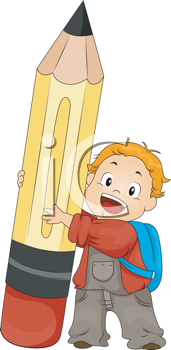 Royalty Free Clipart Image of a Boy Holding a Large Pencil