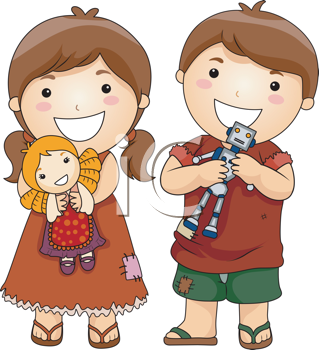 Royalty Free Clipart Image of Children With Toys
