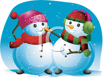Royalty Free Clipart Image of a Snowman Fixing Another Snowman's Nose