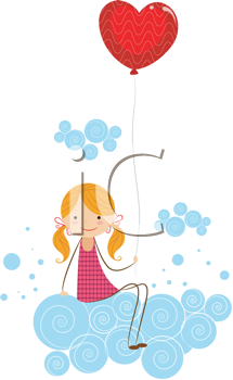 Royalty Free Clipart Image of a Girl on a Cloud Holding a Heart Balloon