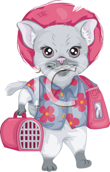 Royalty Free Clipart Image of a Cat With Travelling Items