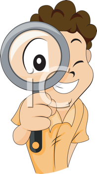 Royalty Free Clipart Image of a Boy With a Magnifying Glass
