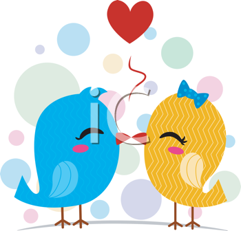 Royalty Free Clipart Image of a Pair of Kissing Birds With a Heart Over Their Heads