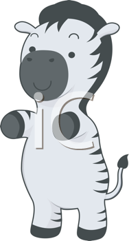 Royalty Free Clipart Image of a Zebra on Its Back Legs
