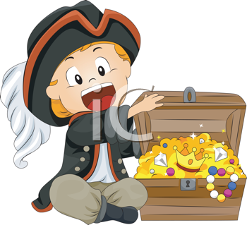 Royalty Free Clipart Image of a Little Boy in a Pirate Costume With a Treasure Chest