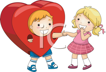 Royalty Free Clipart Image of a Boy in a Heart Holding a Girl's Hand