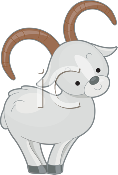 Royalty Free Clipart Image of a Mountain Sheep