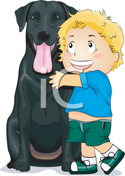 Royalty Free Clipart Image of a Child Hugging a Black Dog