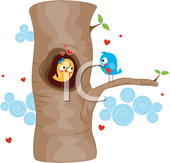 Royalty Free Clipart Image of Lovebirds in a Tree