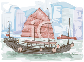 Royalty Free Clipart Image of a Chines Junk