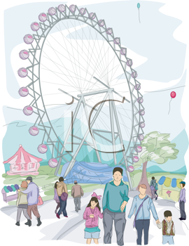 Royalty Free Clipart Image of People at an Amusement Park