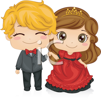 Royalty Free Clipart Image of a Couple Dressed Up