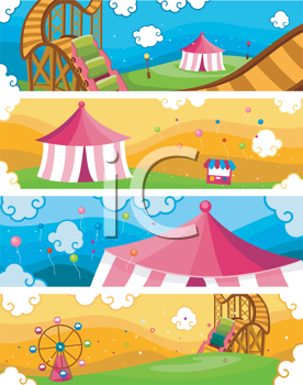 Royalty Free Clipart Image of a Collection of Theme Park Banners